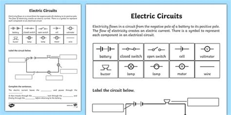electric circuits worksheet electric circuits circuits