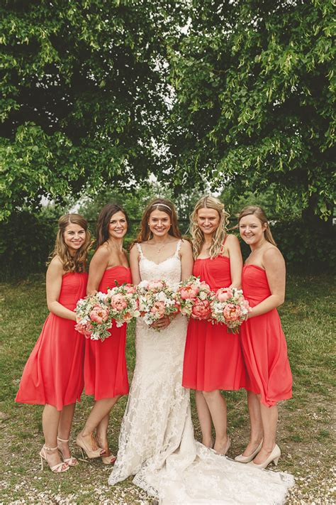 Barn Wedding Bridesmaid Dresses by Gorgeous Relaxed Rustic Coral Peony Filled Barn Wedding