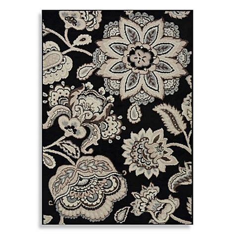 Westwood Floral Accent Rug in Black Bed Bath & Beyond