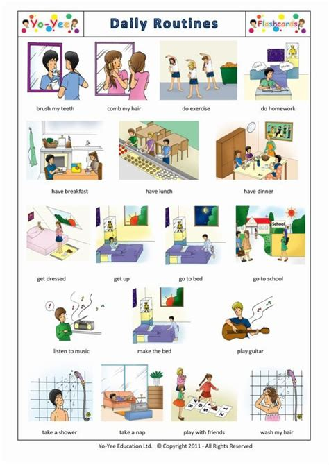 daily routines flashcards  french  kids la routine