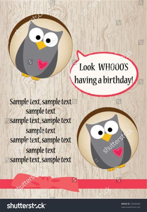 cute owl birthday card stock vector illustration