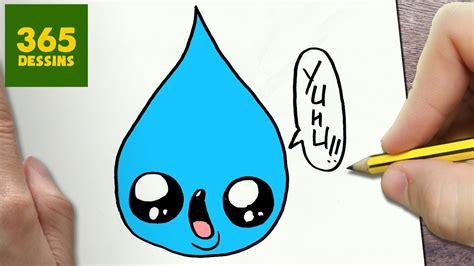 comment dessiner goutte de pluie kawaii etape par etape