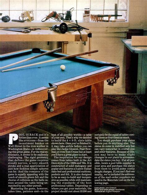 pool table plans woodarchivist