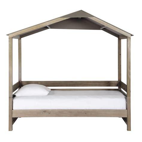 lit 90 x 190 lit cabane enfant 90 x 190 cm en bois forest maisons du monde