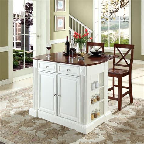 kitchen islands with breakfast bar crosley drop leaf breakfast bar top kitchen island with 24 quot x back stools by oj commerce 879 00