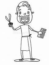 Hairdresser Cartoon Coiffeur Barber Witte Drawing Kapper Achtergrond Het Child Illustrations Coloration Enfant Coloring Vectors Clipart Bande Dessinee Dessin sketch template
