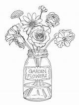Vase Flowers Drawing sketch template