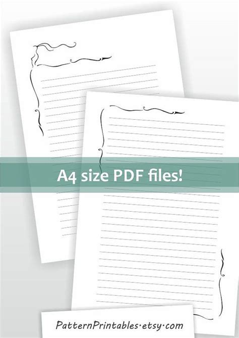 size lined letter writing paper printable