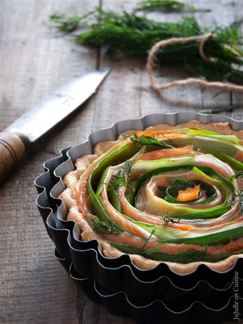 cuisine poireau tarte légère tourbillon saumon fumé et poireau sans