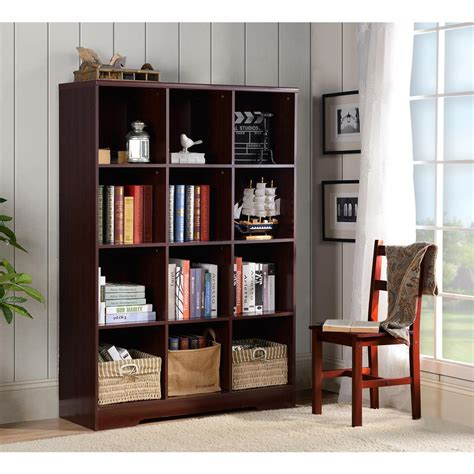 Cube Bookcase by Large 12 Cube Storage Organizing Bookcase In Espresso 139