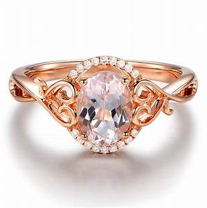 vintage 1 carat morganite and diamond engagement ring in With vintage wedding rings rose gold