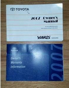 Toyota Yaris Owners Manuals