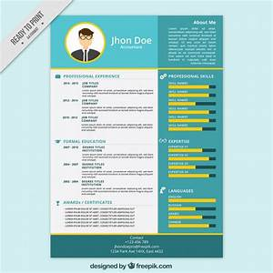 Blue and yellow resume template vector free download for Blue resume paper