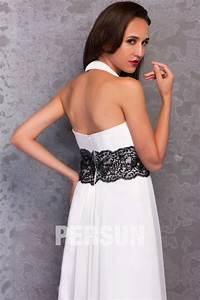 blanche robe de soiree chic elegante empire a col With site americain robe de soirée