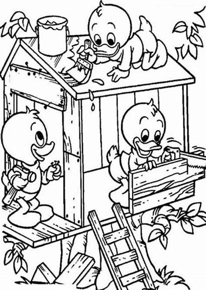 Coloring Treehouse Pages Colouring Tree Build Louie