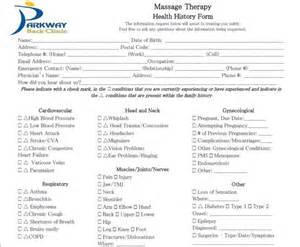Patient Intake Form Massage