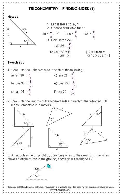 free high school math worksheet from funmaths