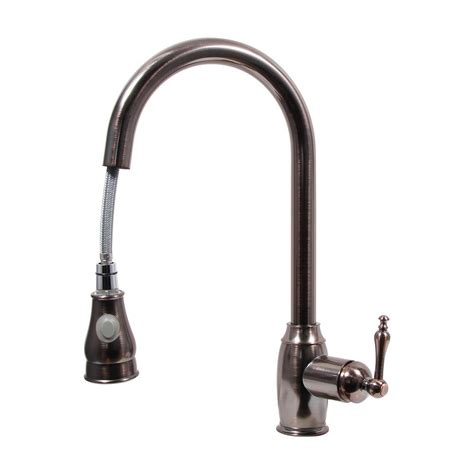 rubbed bronze pull kitchen faucet dyconn ponto platinum series single handle pull out