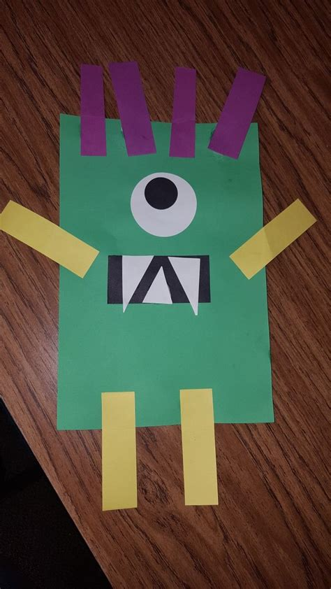 rectangle monster craft preschool art activities shapes