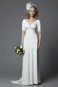 lotty 1940s style full length silk crepe wedding dress With 1940s inspired wedding dresses
