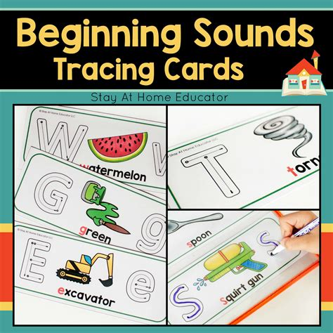 beginning sounds tracing cards stay at home educator