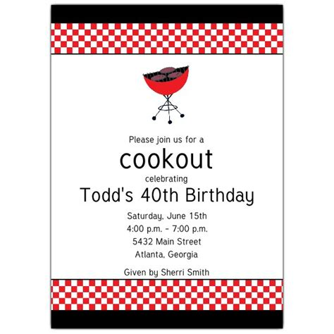 cookout grill birthday invitations paperstyle
