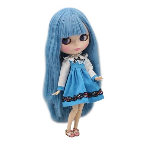Factory Blyth Doll Long Straight Blue Hair With Bangs