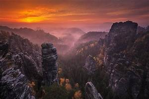 nature, , landscape, , sunset, , mountains, , forest, , fall, , mist