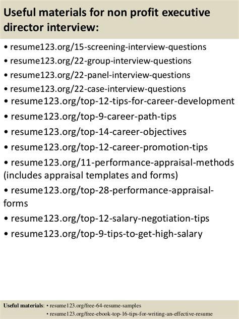 top 8 non profit executive director resume sles