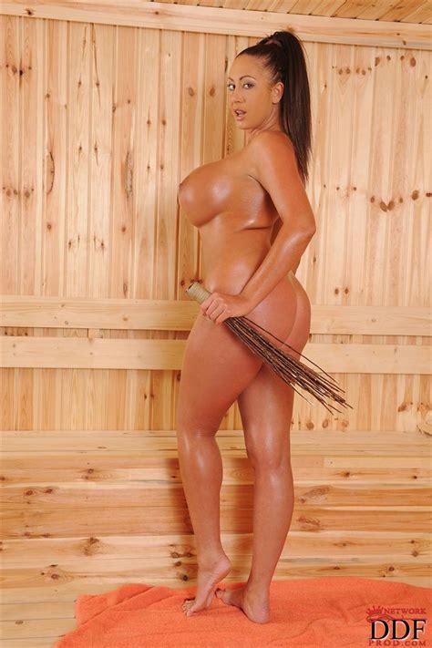 Emma Butt Shows Off Her Big Tits In The Steamy Sauna Ddf