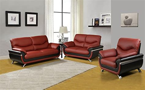 Beverly Furniture 3piece Red-black Contempraray Faux