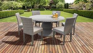 Monterey, 60, Inch, Outdoor, Patio, Dining, Table, With, 6, Armless, Chairs