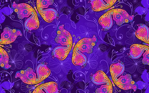 wallpaper butterflies neon art purple gradient
