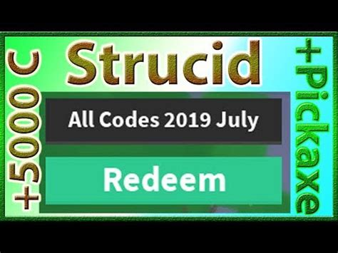 codes  strucid  coins pickaxe  july