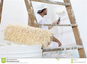 Painter Man At Work With Paint Roller, Wall Painting ...
