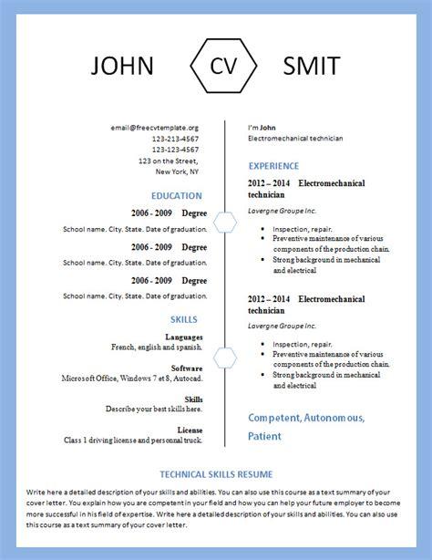 Modern Resume Templates 2015 Word by Modern Resume Template 793 799 Free Cv Template Dot Org