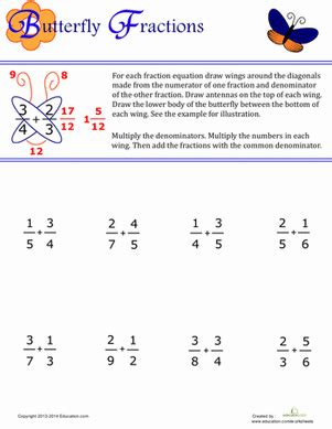 butterfly fractions worksheet educationcom