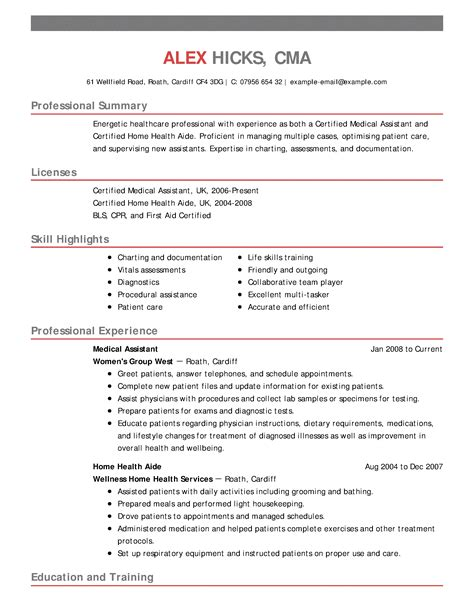 Healthcare Resume by Resume Free Excel Templates