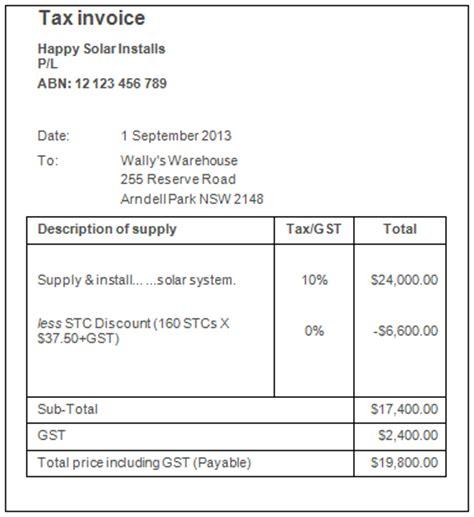 invoice template australia  gst invoice