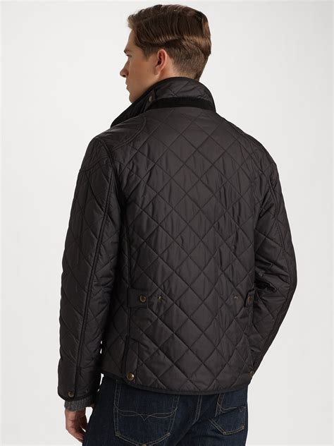 polo ralph richmond quilted jacket in black for lyst