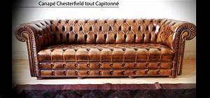 canape chesterfield capitonne 3 places marron patine With canapé lit style anglais