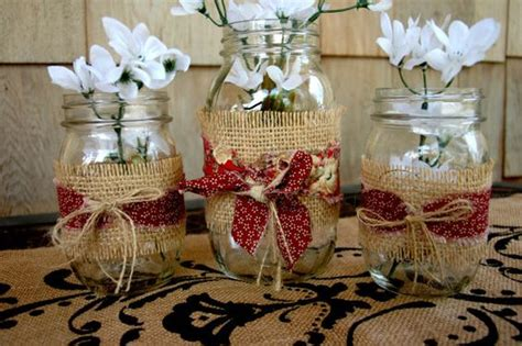 decorating jars with fabric jars wrapped in burlap and fabric by