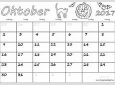 Kalender för månad Oktober 2017 Gratis utskrivbara PDF