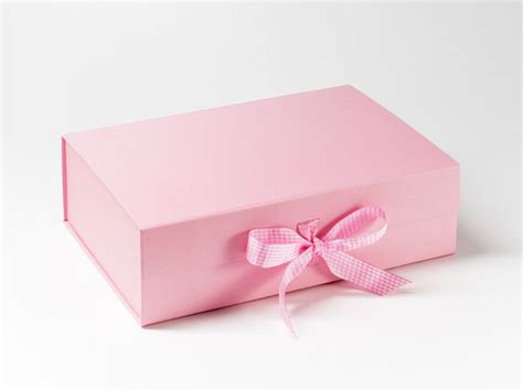 baby pink gift box with pink white gingham ribbon foldaboxusa gift wrap and ribbons