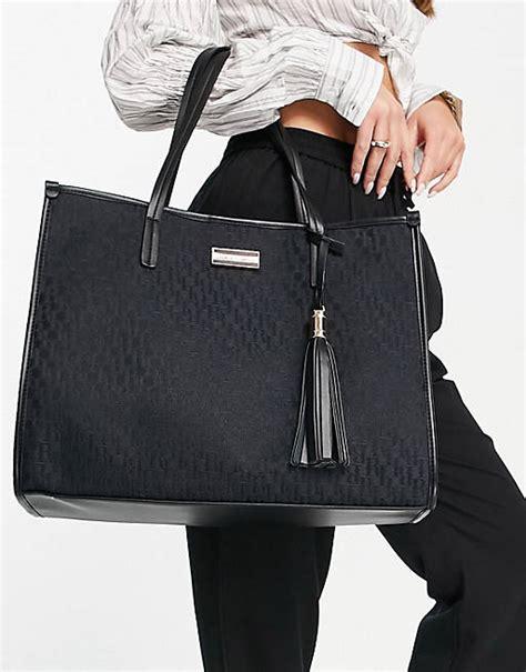 river island jacquard monogram shopper bag  black asos