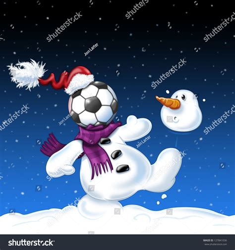 snowman playing football stock illustration