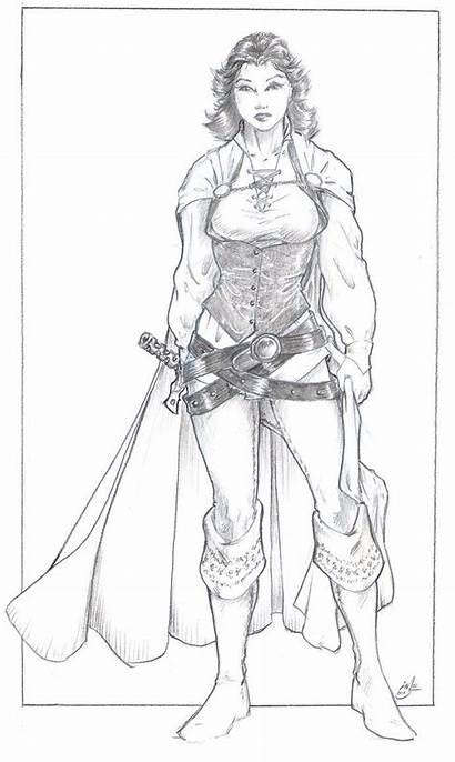 Elf Female Drawing Ranger Wood Character Warrior