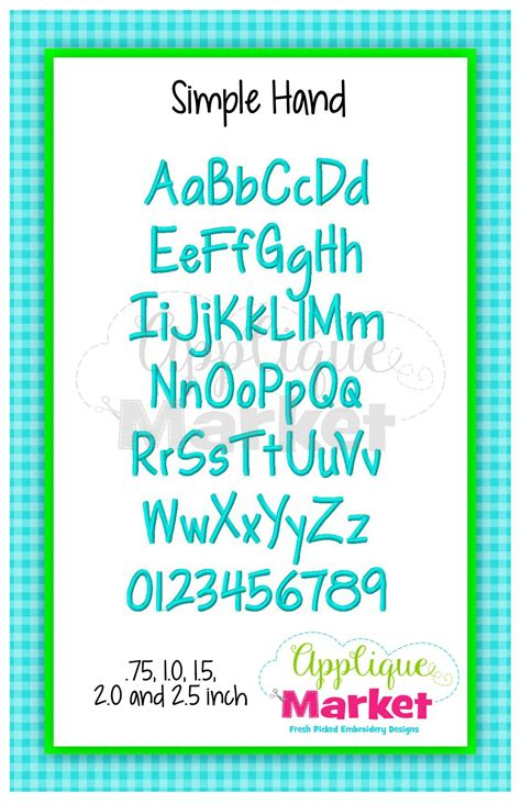simple hand alphabet applique design