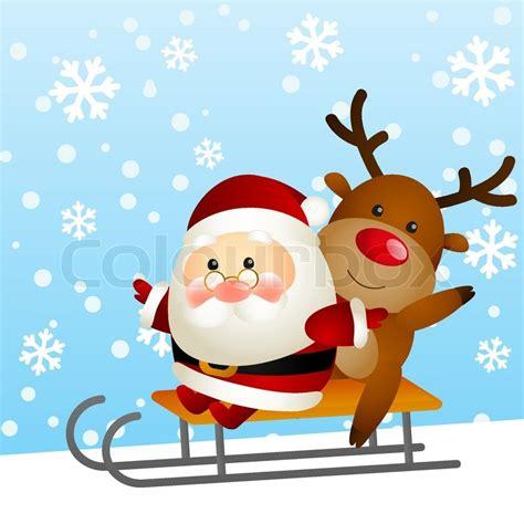 lustige weihnachtsmann bilder lustige weihnachtsmann und hirsch auf stock vektor colourbox