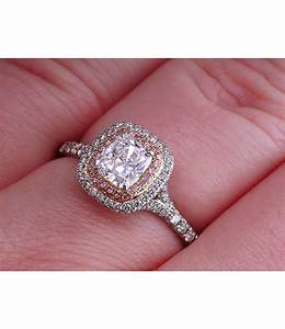 Tiffany co soleste cushion pink diamond platinum for Pink diamond wedding rings